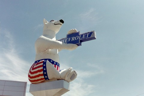 ... the air the worlds largest polar bear proudly holds a chevy emblem and